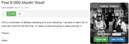 Wealthy Affiliate Success Stories - First $1000 Month! Woot!