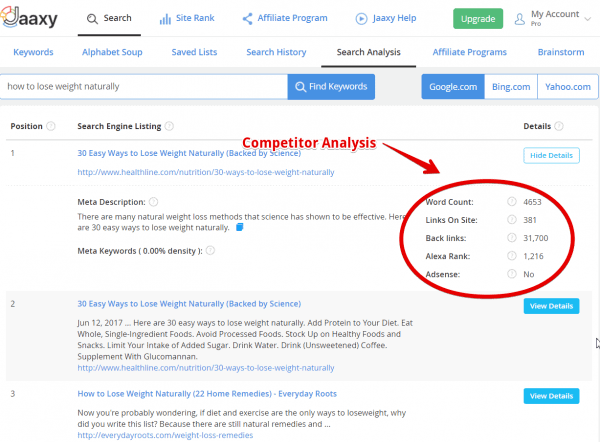 Jaaxy Competitor Analysis