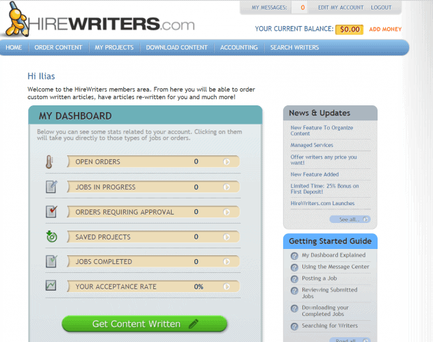 Hire Writers - Client Members Area Home