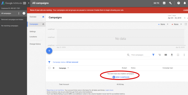 AdWords - Create a new campaign