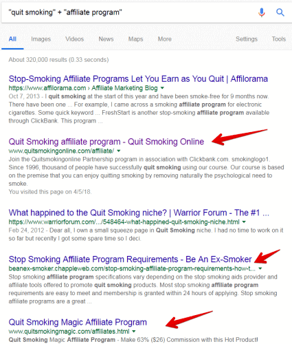 Find affiliate programs with a Google search