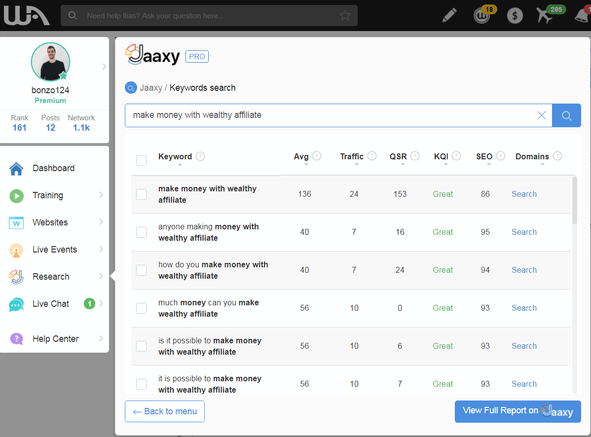Jaaxy search