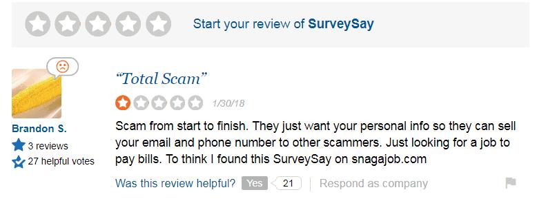 Surveysay Complaint