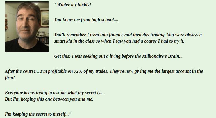 millionaires brain academy - fake testimonial