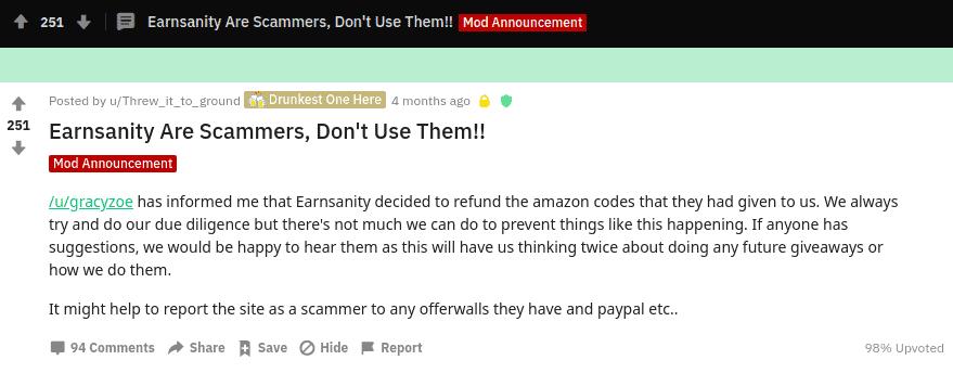 earnsanity complaint